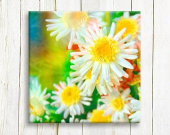 Colorful neon flowers printed on canvas - home and living - wedding gift idea