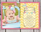 Lemonade Invitation - ANY colors - Sunshine Lemonade First Birthday Invite - Mason Jar Chevron Bunting Lemonade Stand - Photo - Printable