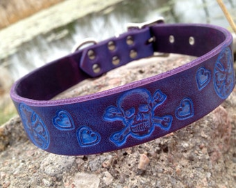 """Cool Leather dog collar skulls and hearts 1"""" purple band"""