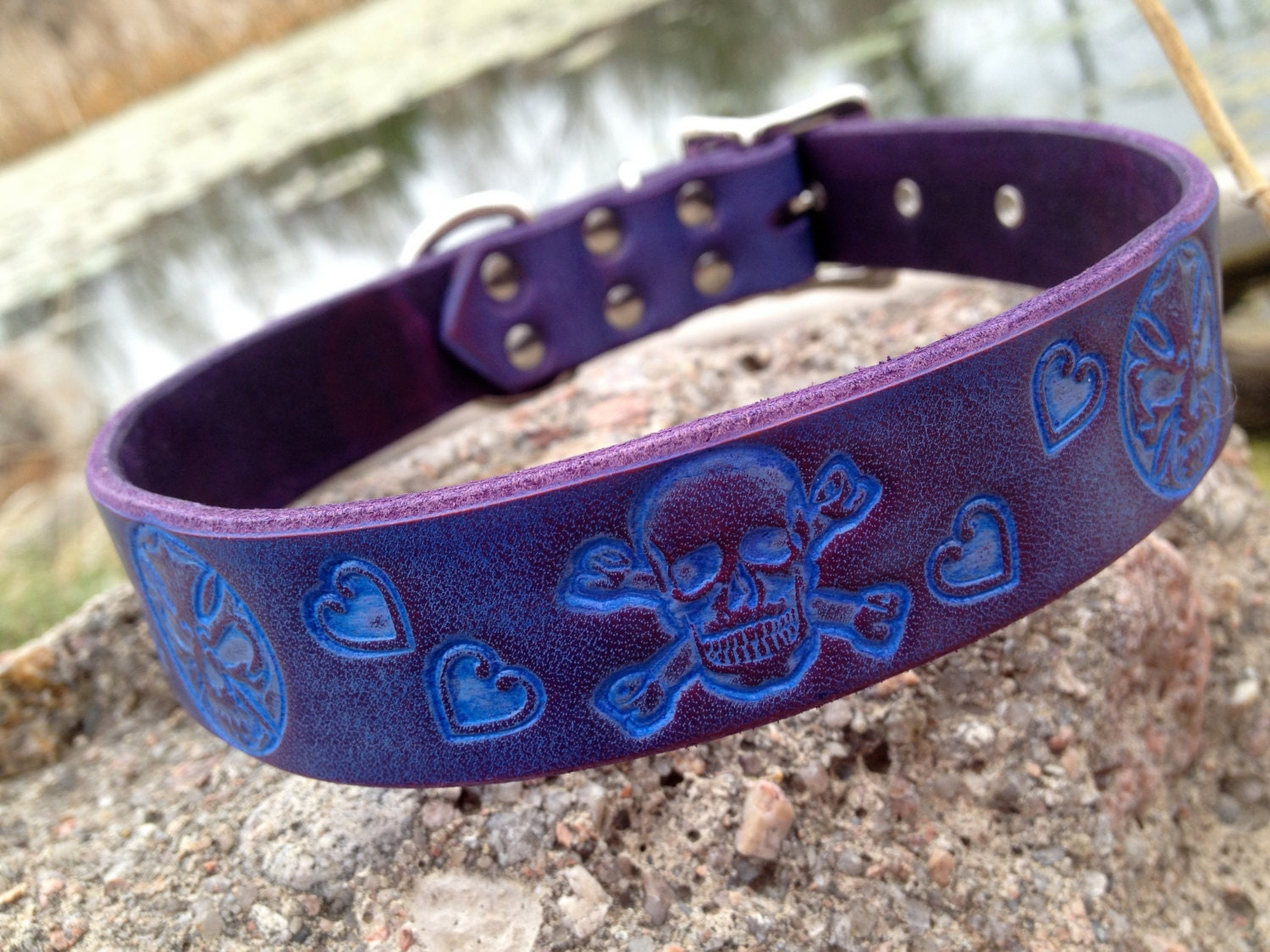Purple Skull Dog Collar