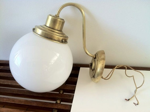 Mid Century Modern Brass Wall Mount Light Fixture White Milk