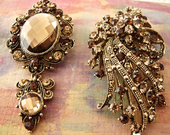 Vintage Brown Topaz Style Brooch Pendants