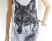 Wolf Fox Animal Tshirt Wolf Tank Top Wolf Shirt Fox Shirt White Tshirt Screen Print Size M