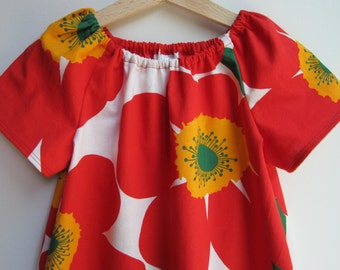 Bright Poppies in Red Peasant Dress 3T/4T