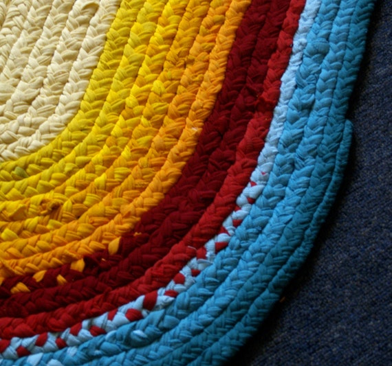 Rag Rug Bath Mat Small Triple Citrus By EarlyMorningProjects
