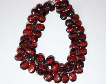 Natural AAA Quality Garnet 6X8 to 8X12mm Faceted Pear Gemstone Beads 7 Inches FBL32