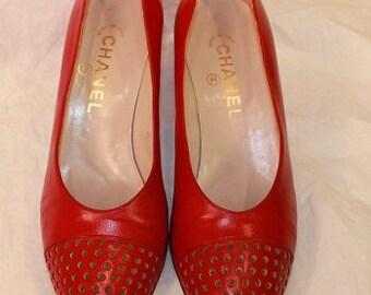 Chanel red pumps heels vintage sz 38