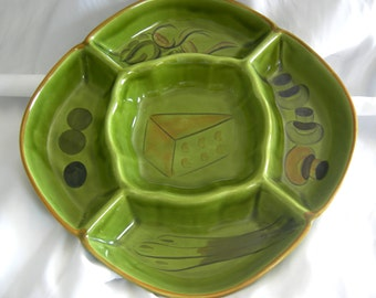 Hand Painted Green Ceramic Horderves Hors Doeuvres Canape Tray  w/Cheese Mushroom Olives Motif - Signed LOS ANGELES POTTERIES - Vintage 1970