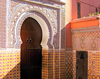Marrakech, Morocco. Moroccan Decor Photograph Print. Carved, Wooden Doors. Yellow. Blue. Orange. Travel Photography. Wood. Etched.