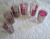 Mad Men Era Mid Century Modern Red & Gold Polka Dot Glass Tumblers, Mod, Barware, Set of 6