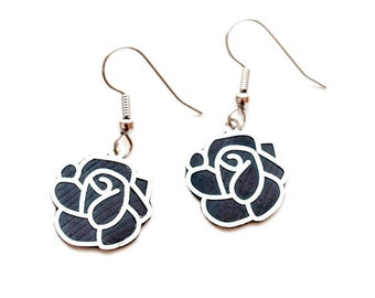 Sophisticated Upcycled Rose Earrings, Bike Tube Earrings