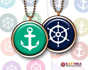 Printable Downloads ANCHORS and SHIP'S WHEELS 1 inch (25mm) and 1.5 inch size Digital Images for Bottle Cap Glass Cabochon Resin Pendants