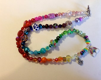 Rainbow Bridge Beaded Necklace with Rainbow Charm  and Heart Bead and Rainbow Bridge Poem - Supporting Rescue
