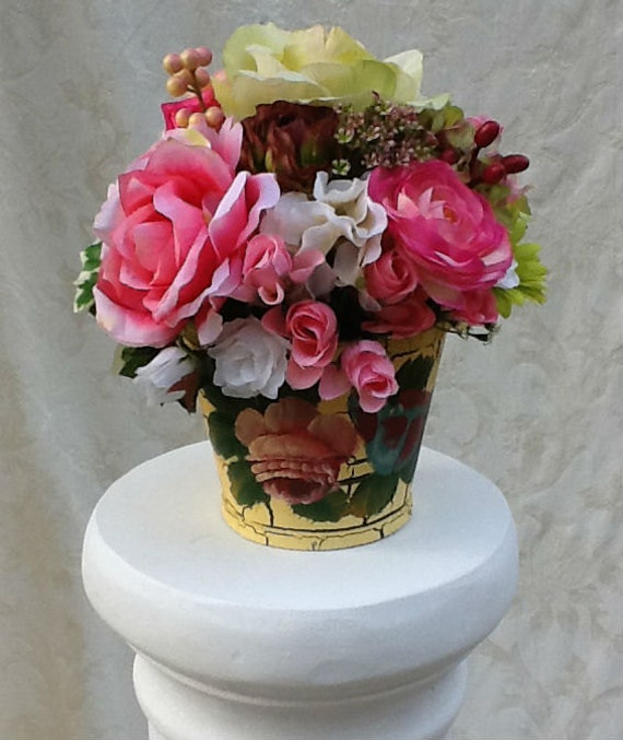 Silk Flower Arrangement in Hand-Painted Container Home Decor Special Occasion Gift