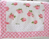 new VINTAGE pink roses shabby COTTAGE chic RUG handmade fabric bath mat nwt upcycled gift