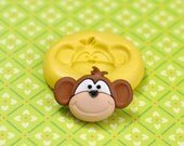 Monkey Face Smile Flexible Silicone Polymer Clay Soap Chocolate Fondant Push Mold - Food Grade 28x19mm