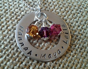 Personalized Mother Necklace, Mom Necklace, Grandma Family Necklace with Kids Names and Swarovski Crystal Elements by Stamped Evermore