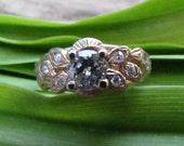 Golden Peacock : Half Carat Diamond Vintage Engagement Ring, 18K Gold 1960s HANDMADE Hollywood Regency
