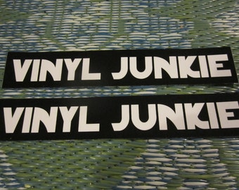 """Vinyl Junkie, Set of Two 1.5"""" x 8.5"""" Bumper Stickers for DJs and Record Store Lovers"""