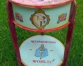 """Vintage """"Wonders of the World"""" Sewing Stand, Night Stand, Sewing Table"""