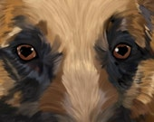 Title: Eyes of love (german shepard dog)  signed by artist print 13x19  dog breed print