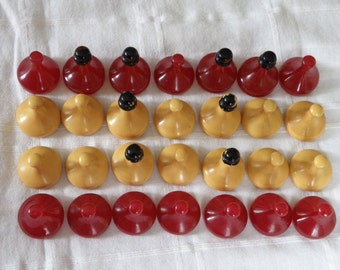 RARE Bakelite Red and Ivory Game Pieces - set of 28