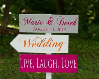 Custom Wedding Directional Signs with Arrows for Ceremony, Reception, Photobooth and More