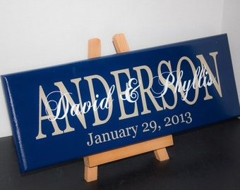 Family Last Name Wood Sign with Established Date. Perfect Wedding Gifts, Bridal Shower or Anniversary