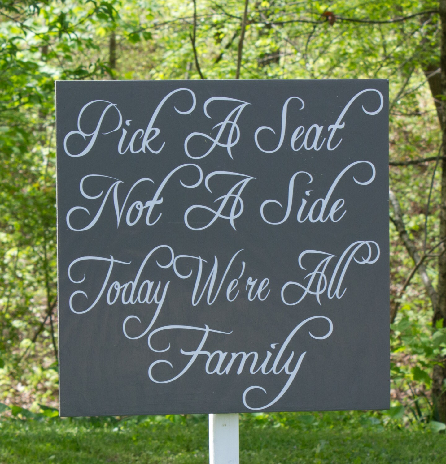 Extra Large Wedding Seat Sign Pick A Seat Not A Side STAKE
