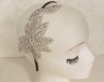 Rhinestone Bridal Headband / Bridal Fascinator /  The Lilly Headband