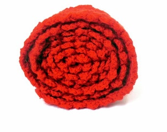 Clearance Holiday SALE Red Crochet Scarf in Shell Stitch