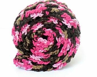 Clearance SALE Crochet Ribbed Scarf in Pinks and Browns for Women