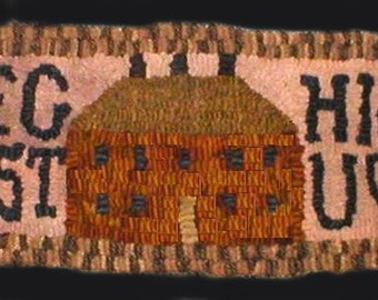 PrimiTive Folkart House & Alphabet Hooked Rug Runner  Beaconhillcollect