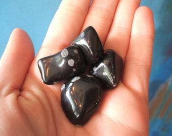 Set of 2 Snowflake Obsidian Stones - Reiki Charged - Crystals - New Age - Metaphysical - Meditation - Yoga - Spirituality - Gem Rock Stone
