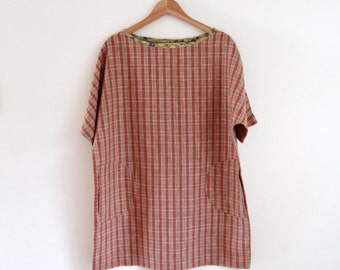 Linen check tunic/dress with pockets M/L