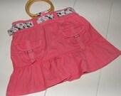 Salmon Pink Skirt Purse Skirt Bag Wooden Handles Handmade In France