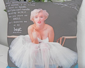 Marilyn Monroe Quote Signature Pillow 12 x 12""
