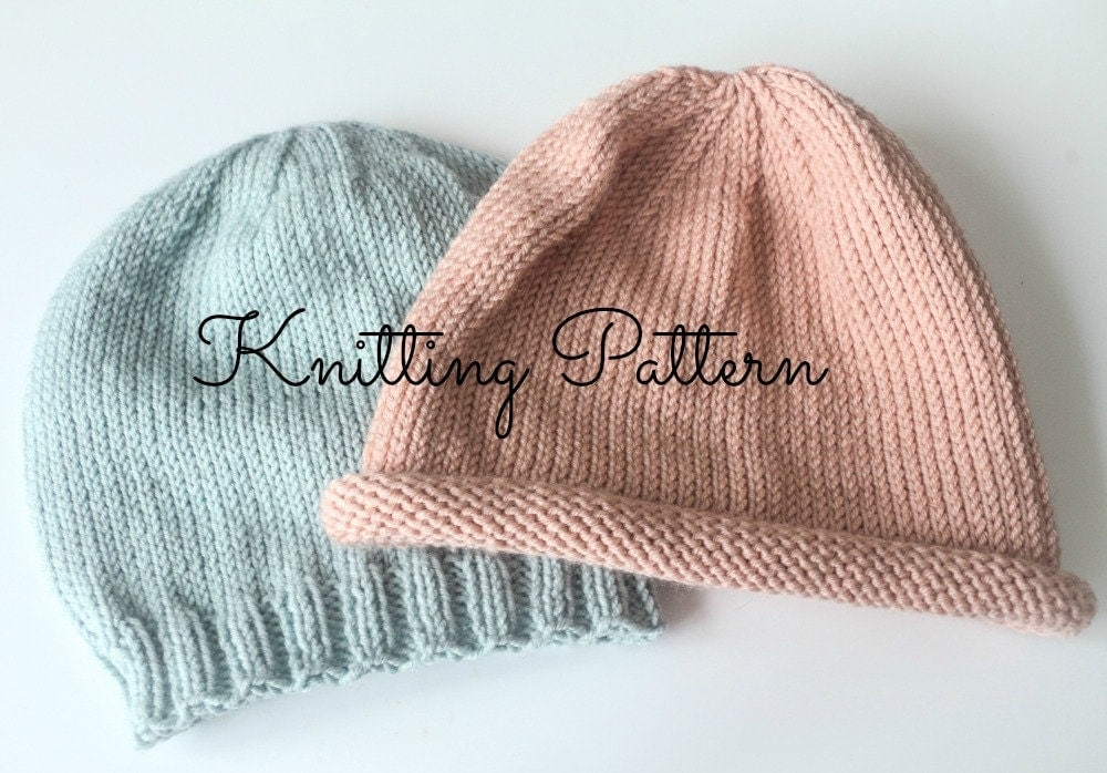 Baby Beanie Knit Pattern : Knitting Pattern/DIY Instructions Basics Beanie Hat Babies
