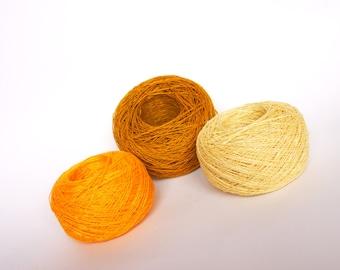 3 Balls LINEN YARN, Natural 100% Yellow Linen, High Quality Linen Yarn, Crochet, Knitting Linen Yarn, 150g (5.25oz)