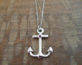 Silver Anchor Necklace - Shiny Silver Anchor Necklace