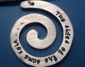 Merlin Inspired - Two Sides Of The Same Coin - A Hand Stamped Aluminum Spiral Necklace