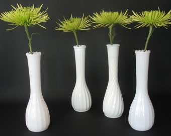 Vintage Milk Glass Bud Vases set of four Wedding Decor Center Piece