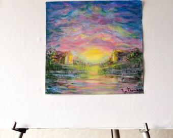 """Original  Landscape Painting  """"Sunrise on the lake"""""""