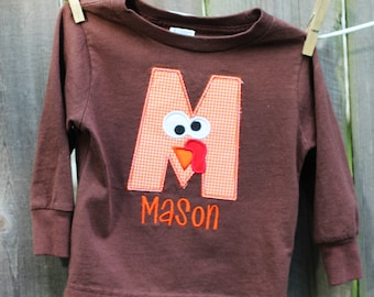 Personalized Turkey Initial Applique T-shirt- Thanksgiving