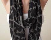 Black - Brown and Gray Infinity Scarf -  Chiffon Fabric