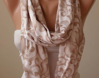 Valentine's Day Gift -  Beige Infinity Scarf - Jersey Fabric