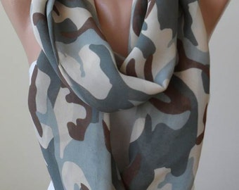 Valentine's Day -  Infinity Scarf -  Military Colors - Chiffon Fabric