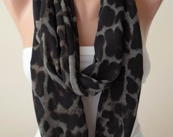 Black - Brown and Gray Infinity Scarf -  Chiffon Fabric