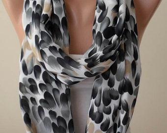 Mother's Day - Gray - Black and White Leopard Print Infinity Scarf -  Chiffon Fabric