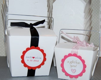 25 Take Out Boxes - Party Box white SMALL 1/2 pint size 8 oz -Chinese with handles food safe - favor treat gift box - personalized option
